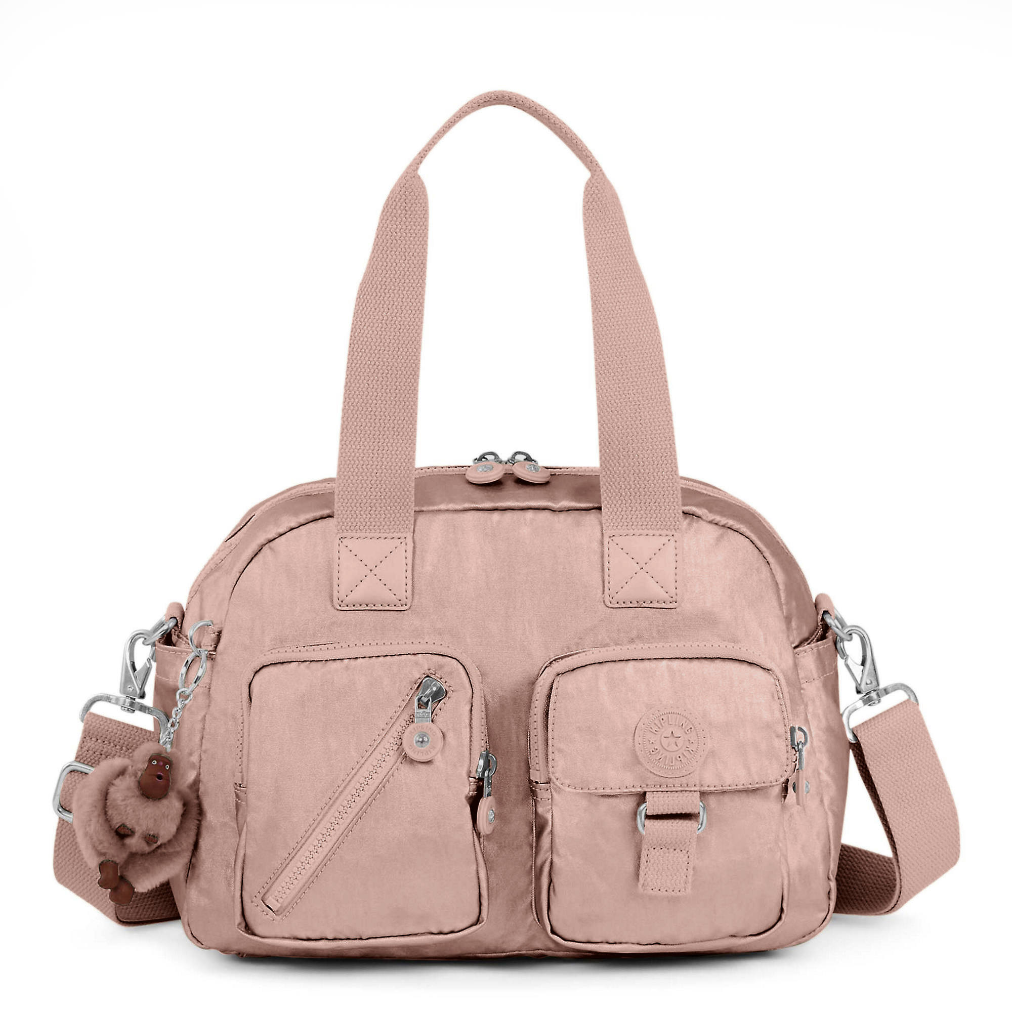 Defea Metallic Handbag Rose Gold Large
