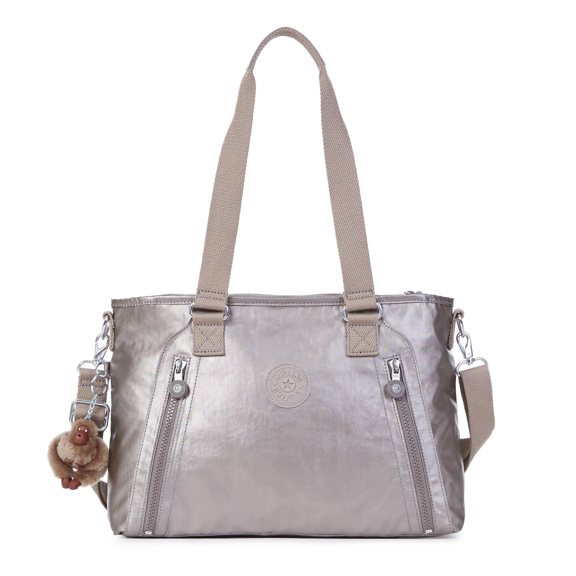 Angela Metallic Handbag Pewter Large