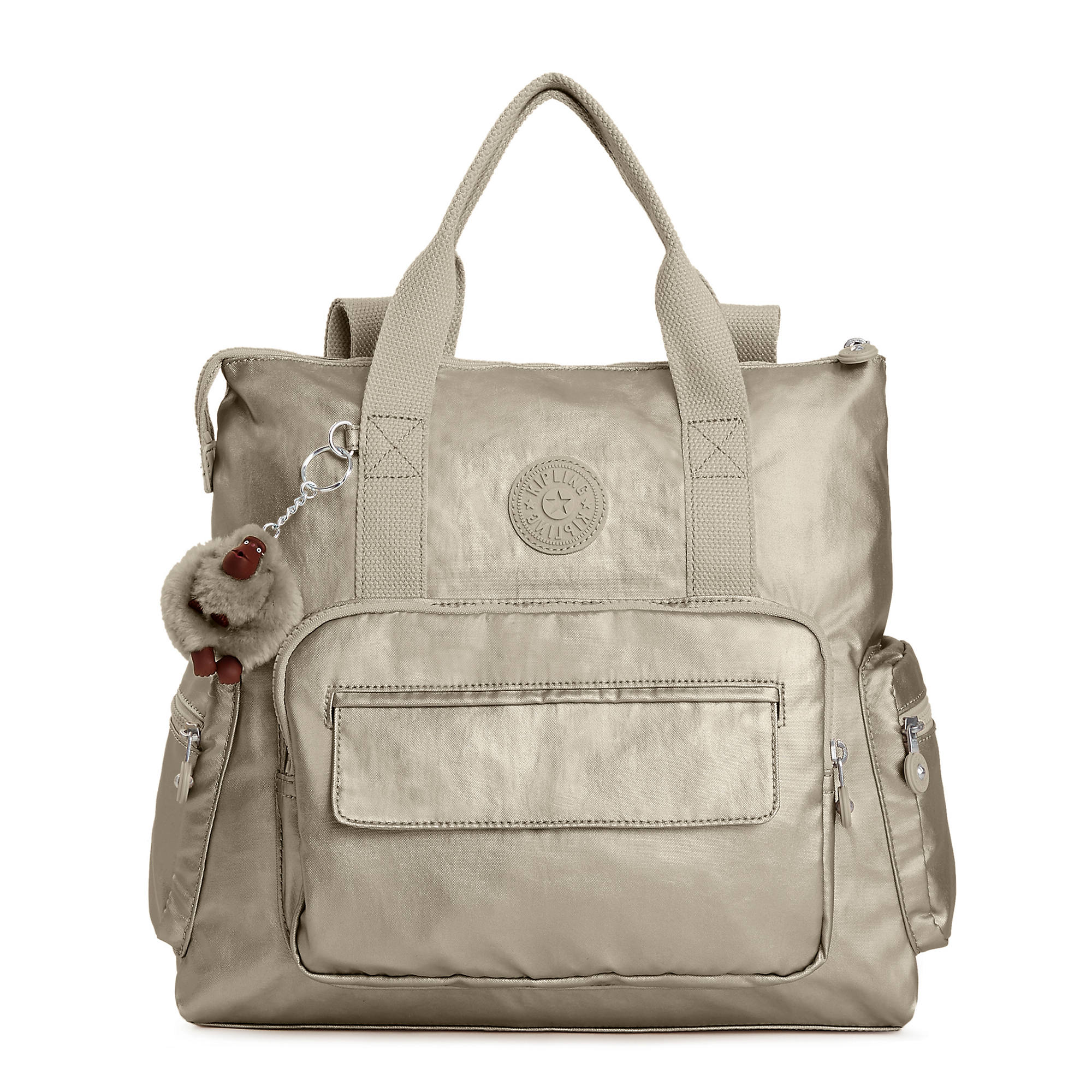 Alvy 2 In 1 Convertible Metallic Tote Bag Backpack Pewter Large