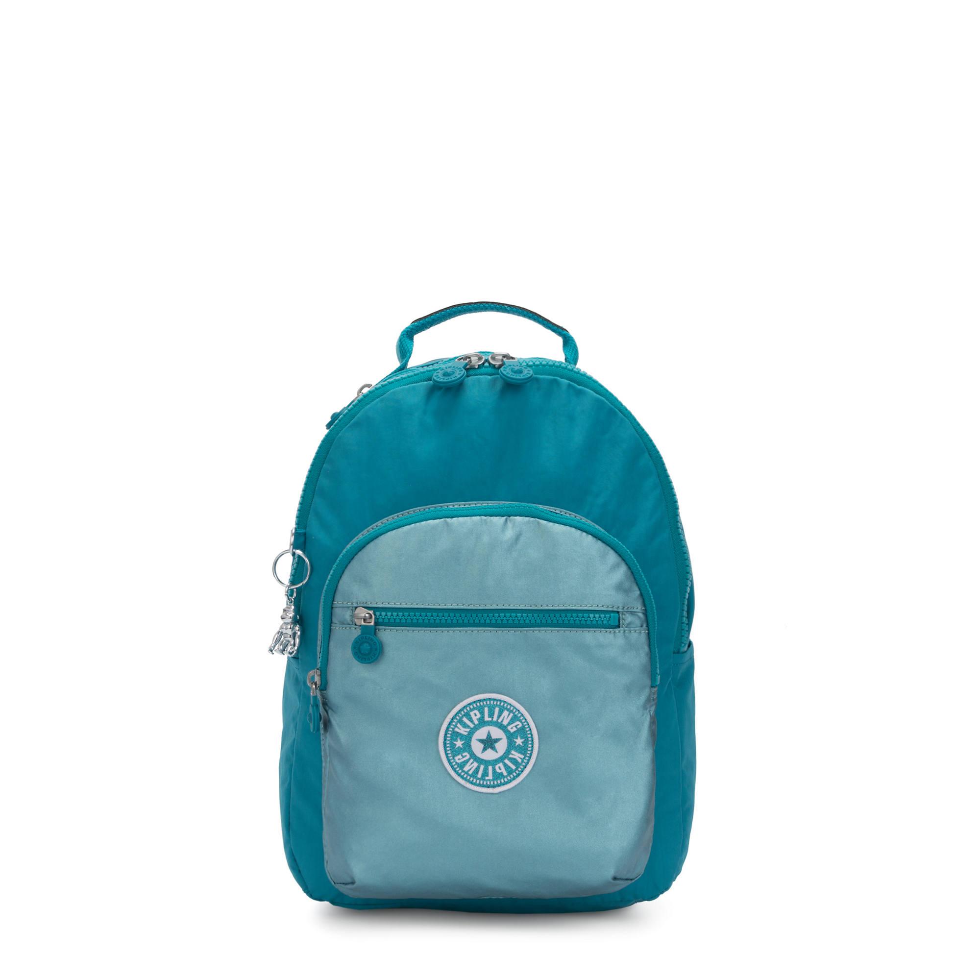 Seoul Small Metallic Tablet Backpack,Turquoise Sea Metallic Block,large-zoomed
