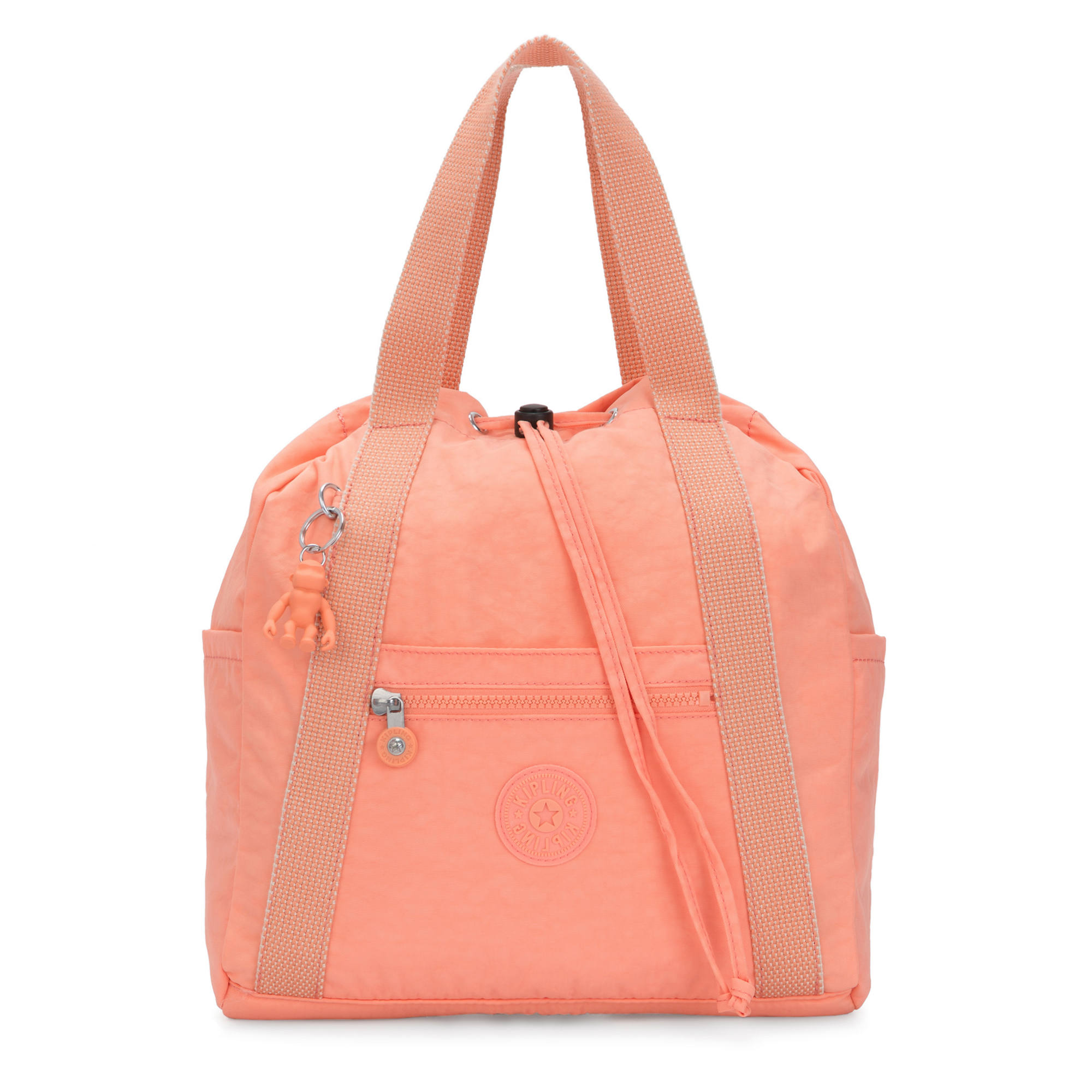 Art Small Tote Backpack,Peachy Coral,large-zoomed