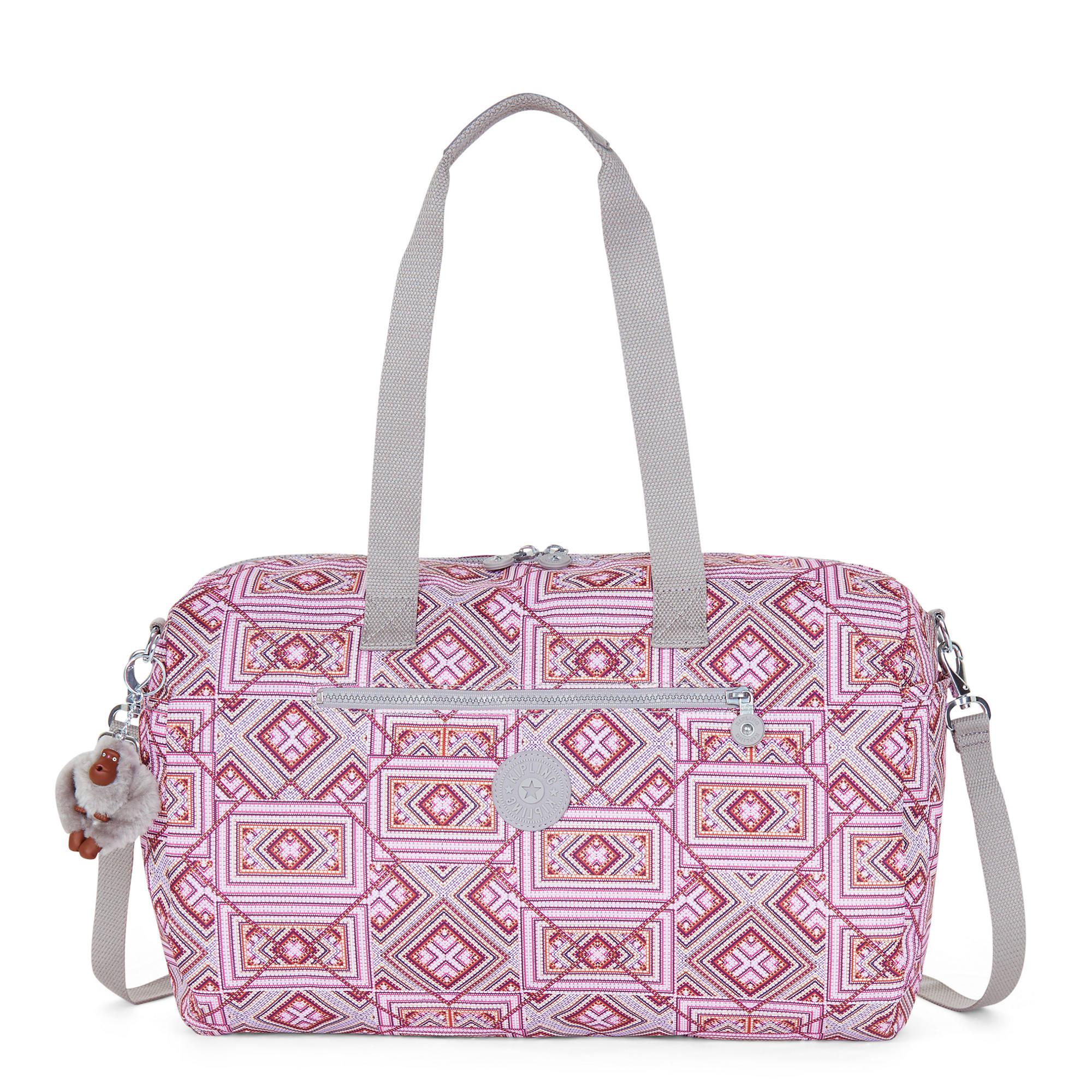 3360e24ea4e Zaliki Printed Duffle Bag,Block Lines,large