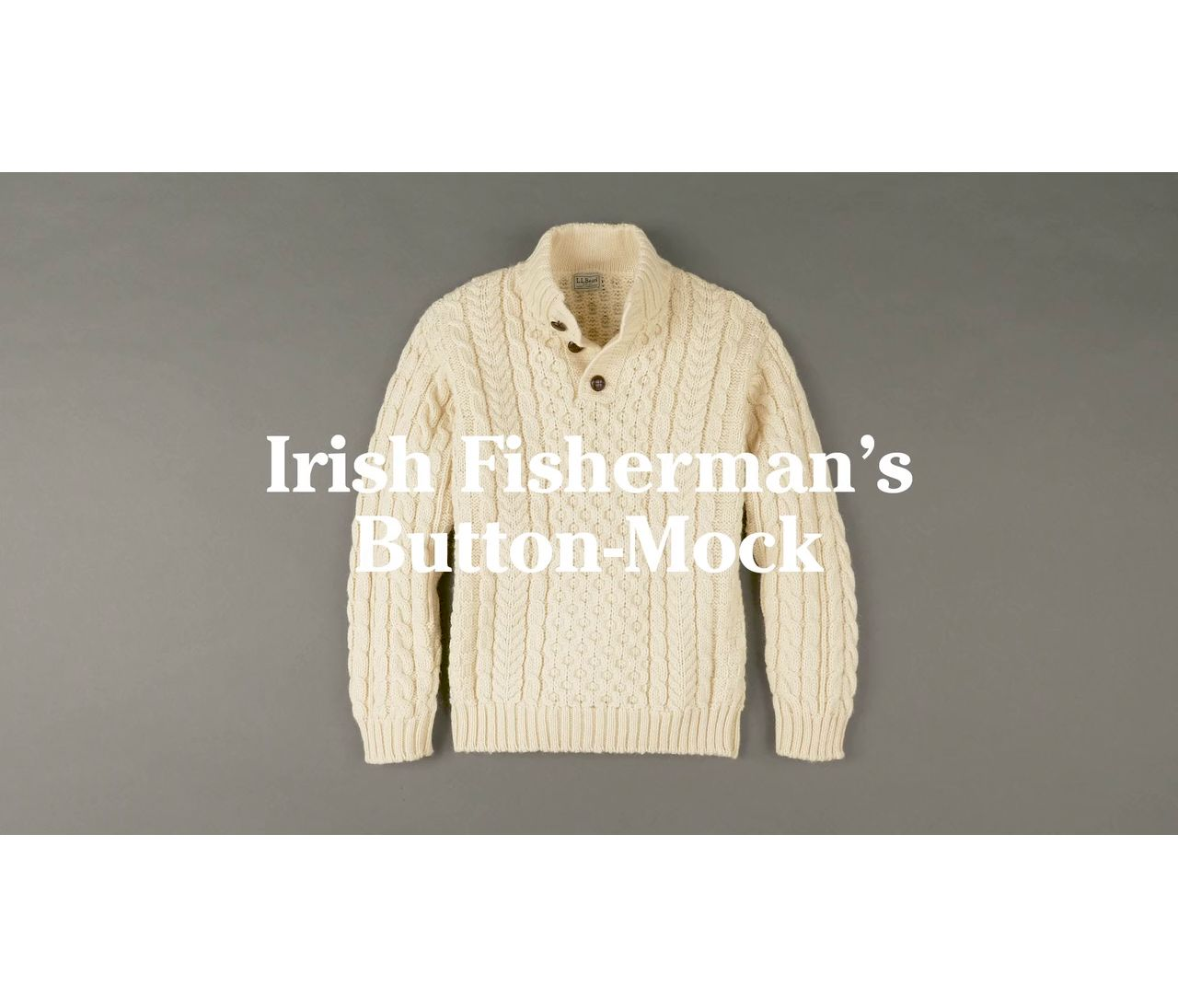 Video: Cable Irish Fish Button Mock Mens
