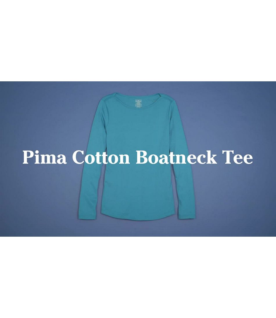 Video: Pima Shaped Boatneck Tee Long Sleeve Print Misses Regular