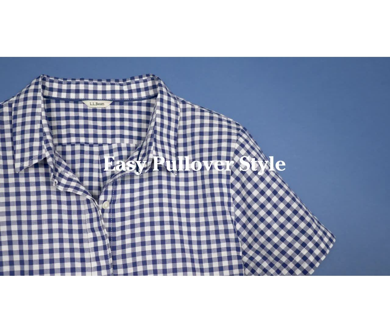 Video: Textured Cotton Popover Shirt Short Sleeve Gingham Misses