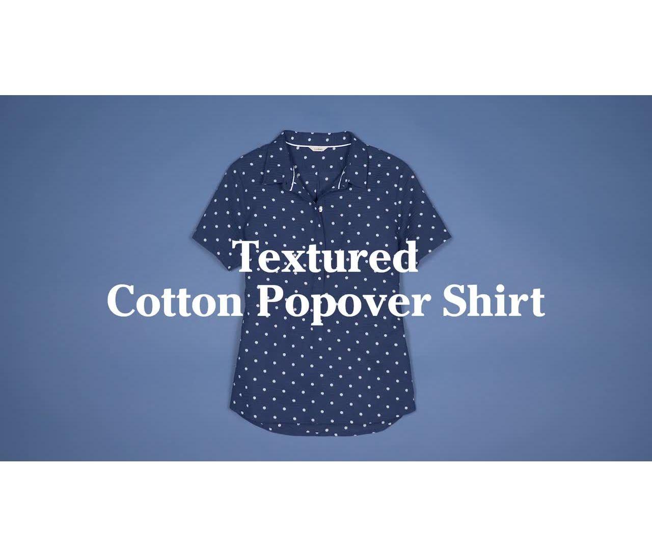 Video: Textured Cotton Popover Shirt Short Sleeve Print Misses