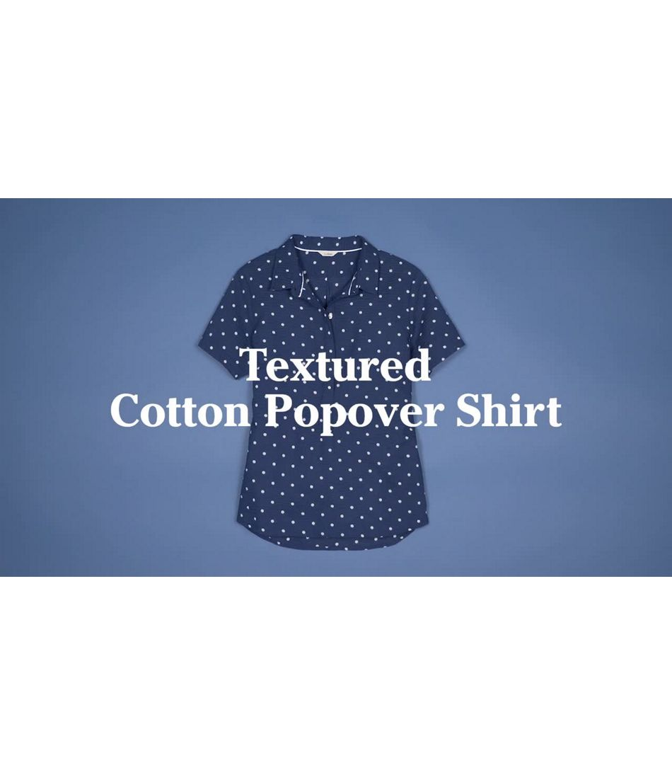 Video: Textured Cotton Popover Shirt Short Sleeve Print Misses
