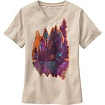 Ladies Painted Forest V-Neck S/S Tee