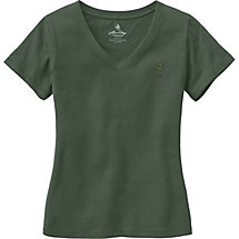 Ladies Signature Buck V-Neck T-Shirt at Legendary Whitetails