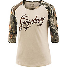 Ladies Legendary Big Game Camo Baseball T-Shirt at Legendary Whitetails