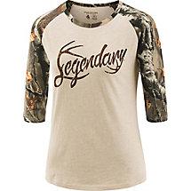 Ladies Legendary Big Game Camo Baseball T-Shirt at Legendary Whitetails