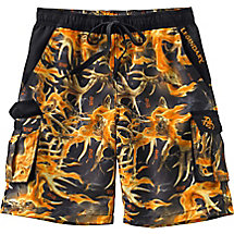 Boys Whitewater Blaze Camo Cargo Swim Trunks at Legendary Whitetails