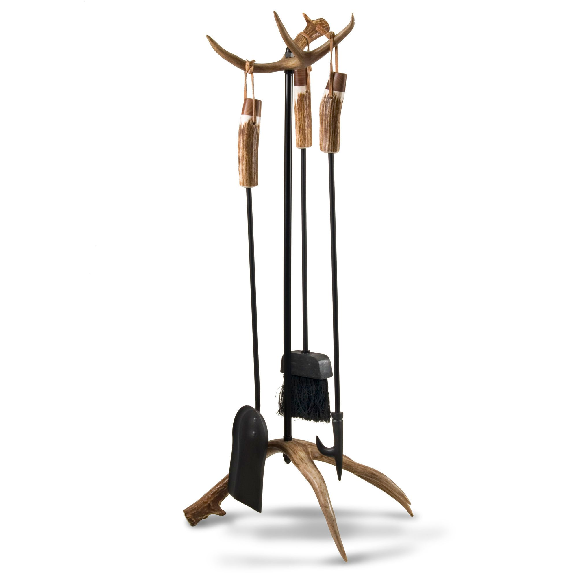 Our unique fireplace Deer Antler Fireplace Tools & Base are made from authentic antlers. The base and handles will add the right touch to your fireplace.