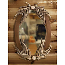 Deer Antler Oval Mirror at Legendary Whitetails