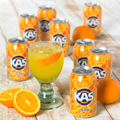 8 Cans of KAS Naranja Soda