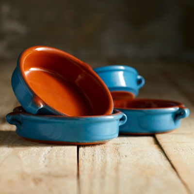 Mediterranean Blue Terra Cotta Cazuelas - 4.5 Inches (4 Dishes)