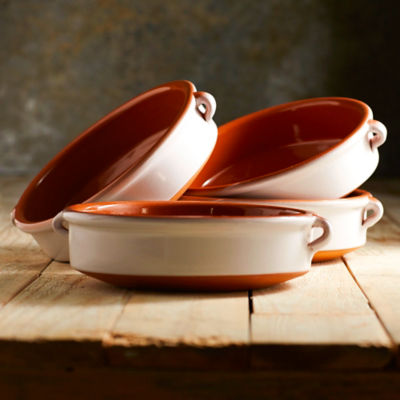 Cloud White Terra Cotta Cazuelas - 8 Inches (4 Dishes)