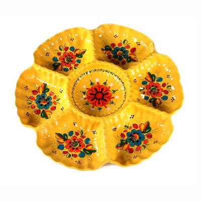 Yellow Ceramic Appetizer Tray