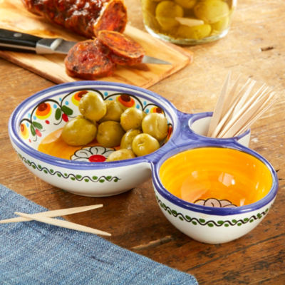 Blue and Yellow Ceramic Olive Dish