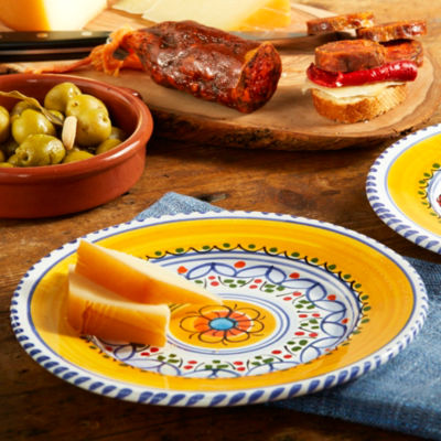 Blue and Yellow Ceramic Tapas Plate