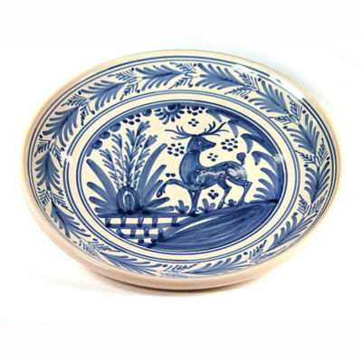 Hand-Painted Golondrina Plate, Stag Design - 11 Inches