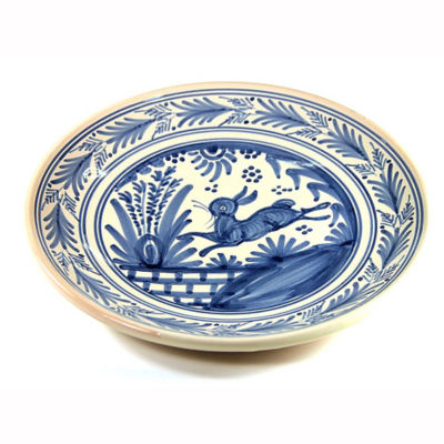 Hand-Painted Golondrina Plate, Rabbit Design - 11 Inches