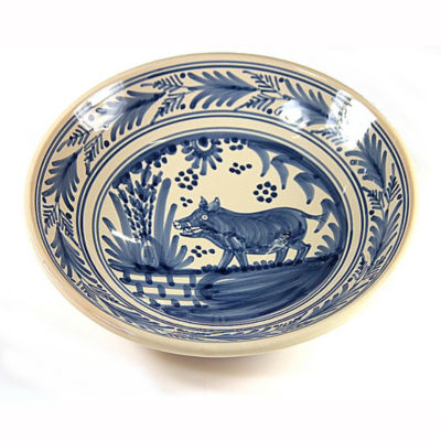 Hand-Painted Golondrina Soup Bowl, Wild Boar Design - 9 Inches