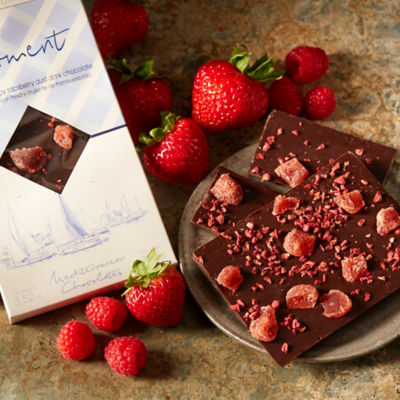 Candied Strawberry and Raspberry Dark Chocolate Bar by Luxocolat