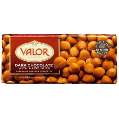 Dark Chocolate Bar with Whole Hazelnuts by Valor