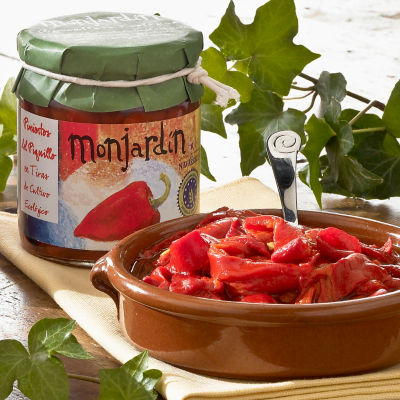 2 Jars of Organic Roasted Piquillo Pepper Strips by Monjardin