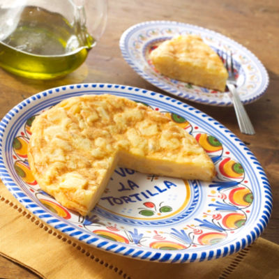 Tortilla Española and Ceramic Serving Plate