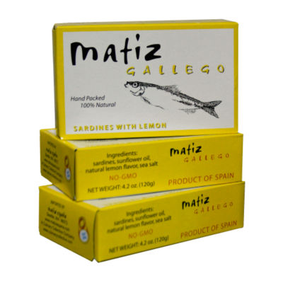 3 Tins of Sardines with Lemon by Matiz Gallego
