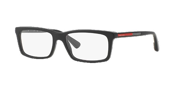 692a2640c5 25PS 02CV  Shop Prada Linea Rossa Black Rectangle Eyeglasses at ...