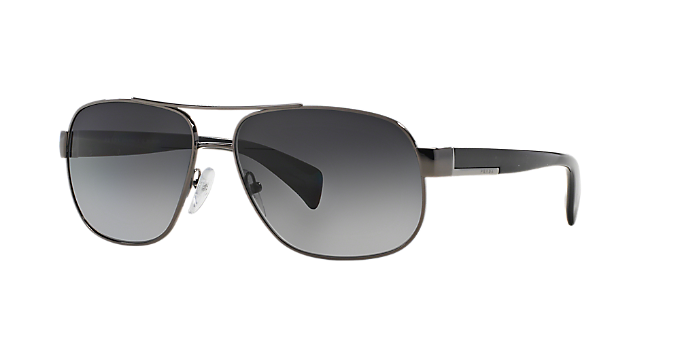 976881595f PR 52PS  Shop Prada Silver Gunmetal Grey Pilot Sunglasses at LensCrafters