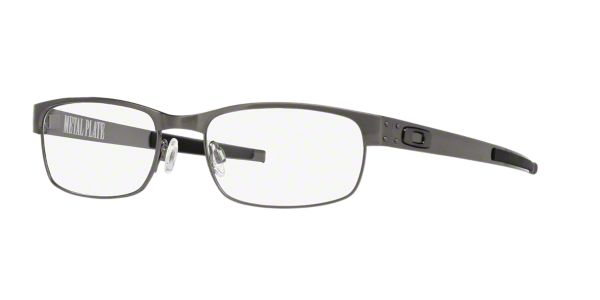a3f7b0b586 OX5038 METAL PLATE  Shop Oakley Silver Gunmetal Grey Rectangle Eyeglasses  at LensCrafters