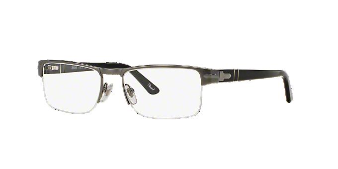 PO2374V: Shop Persol Silver/Gunmetal/Grey Semi-Rimless Eyeglasses at ...