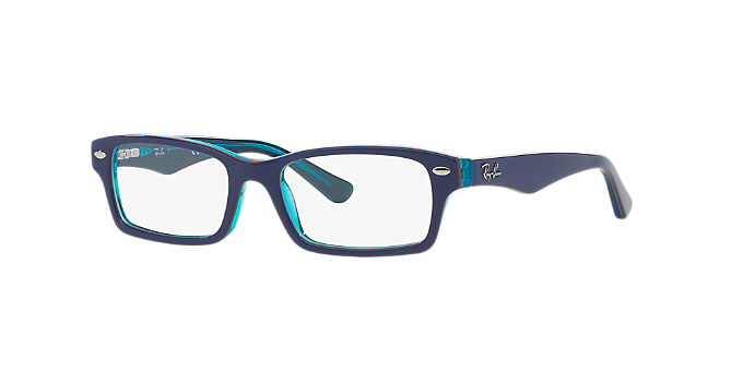 RY1530: Shop Ray-Ban Jr Blue Rectangle Eyeglasses at LensCrafters