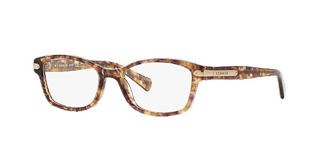 d94d040c92022 HC6065  Shop Coach Brown Tan Rectangle Eyeglasses at LensCrafters