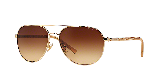 5ef9b3b325 HC7053 58 L137  Shop Coach Gold Pilot Sunglasses at LensCrafters