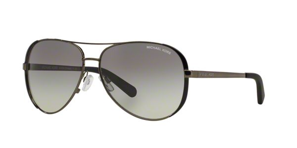 522cac0cb2 MK5004 59 CHELSEA  Shop Michael Kors Silver Gunmetal Grey Pilot Sunglasses  at LensCrafters