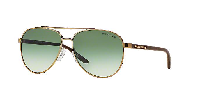b415d8a493a8a MK5007 59 HVAR  Shop Michael Kors Gold Pilot Sunglasses at LensCrafters