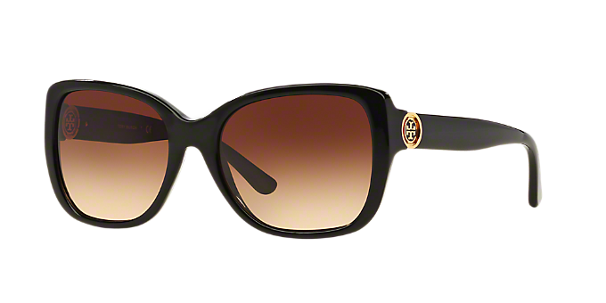 7d26eaed2b TY7086 55  Shop Tory Burch Black Rectangle Sunglasses at LensCrafters