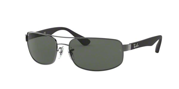 ed07689239 RB3445 61  Shop Ray-Ban Silver Gunmetal Grey Rectangle Sunglasses at  LensCrafters