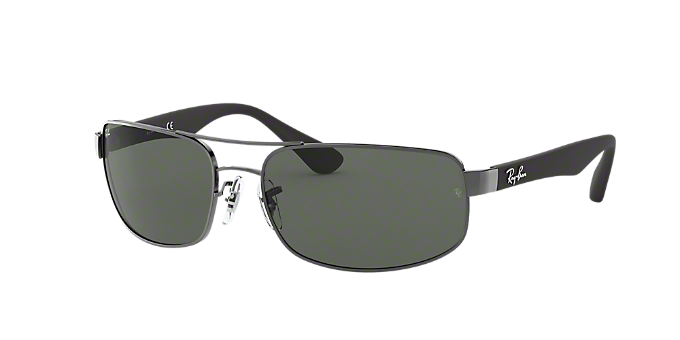 2ae293444f5d9 RB3445 61  Shop Ray-Ban Silver Gunmetal Grey Rectangle Sunglasses at  LensCrafters