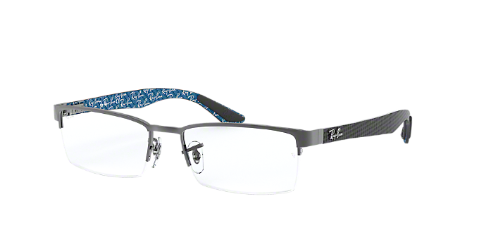 1bd77644113 RX8412  Shop Ray-Ban Silver Gunmetal Grey Rectangle Eyeglasses at ...