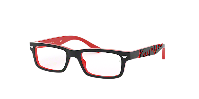 4cb9fb3dc77 RY1535  Shop Ray-Ban Jr Black Rectangle Eyeglasses at LensCrafters