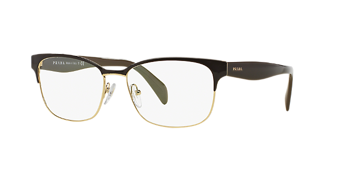 PR 65RV: Shop Prada Brown/Tan Rectangle Eyeglasses at LensCrafters