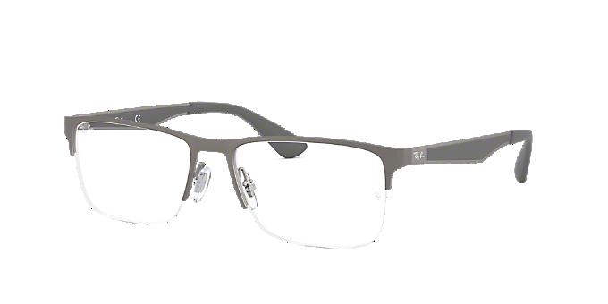 RX6335: Shop Ray-Ban Silver/Gunmetal/Grey Semi-Rimless Eyeglasses at ...