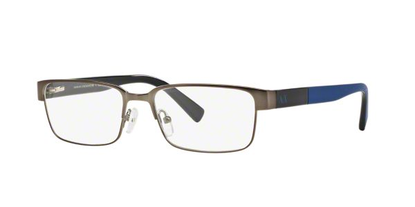 d5825d3d46 AX1017  Shop Armani Exchange Silver Gunmetal Grey Rectangle Eyeglasses at  LensCrafters
