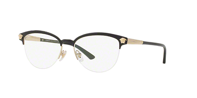 58fbeecca30b VE1235: Shop Versace Black Panthos Eyeglasses at LensCrafters